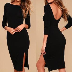 Lulu's Elegant Artistry Black Bodycon Midi Dress